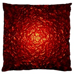 Abstract Red Lava Effect Large Flano Cushion Case (two Sides) by Simbadda