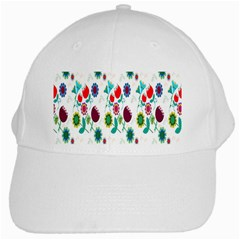 Lindas Flores Colorful Flower Pattern White Cap by Simbadda