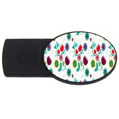 Lindas Flores Colorful Flower Pattern Usb Flash Drive Oval (2 Gb) by Simbadda
