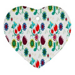 Lindas Flores Colorful Flower Pattern Heart Ornament (two Sides) by Simbadda
