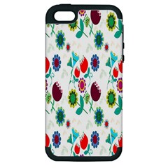 Lindas Flores Colorful Flower Pattern Apple Iphone 5 Hardshell Case (pc+silicone) by Simbadda
