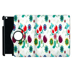 Lindas Flores Colorful Flower Pattern Apple Ipad 3/4 Flip 360 Case by Simbadda