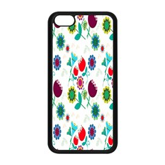 Lindas Flores Colorful Flower Pattern Apple Iphone 5c Seamless Case (black) by Simbadda