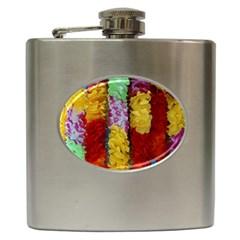Colorful Hawaiian Lei Flowers Hip Flask (6 Oz) by Simbadda