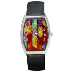 Colorful Hawaiian Lei Flowers Barrel Style Metal Watch by Simbadda