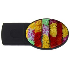 Colorful Hawaiian Lei Flowers Usb Flash Drive Oval (4 Gb) by Simbadda
