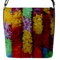Colorful Hawaiian Lei Flowers Flap Messenger Bag (s) by Simbadda
