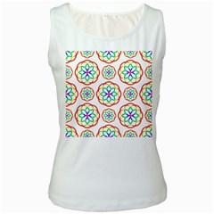 Geometric Circles Seamless Rainbow Colors Geometric Circles Seamless Pattern On White Background Women s White Tank Top