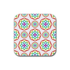 Geometric Circles Seamless Rainbow Colors Geometric Circles Seamless Pattern On White Background Rubber Square Coaster (4 pack)