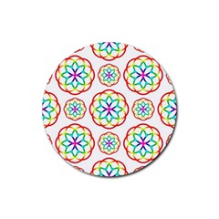 Geometric Circles Seamless Rainbow Colors Geometric Circles Seamless Pattern On White Background Rubber Round Coaster (4 pack)