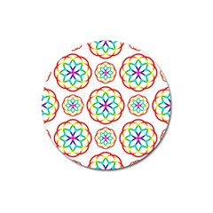 Geometric Circles Seamless Rainbow Colors Geometric Circles Seamless Pattern On White Background Magnet 3  (Round)