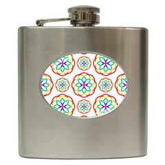 Geometric Circles Seamless Rainbow Colors Geometric Circles Seamless Pattern On White Background Hip Flask (6 oz)