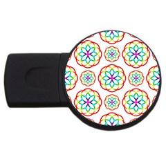 Geometric Circles Seamless Rainbow Colors Geometric Circles Seamless Pattern On White Background USB Flash Drive Round (2 GB)