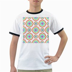 Geometric Circles Seamless Rainbow Colors Geometric Circles Seamless Pattern On White Background Ringer T-Shirts