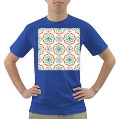 Geometric Circles Seamless Rainbow Colors Geometric Circles Seamless Pattern On White Background Dark T-Shirt