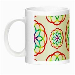 Geometric Circles Seamless Rainbow Colors Geometric Circles Seamless Pattern On White Background Night Luminous Mugs by Simbadda