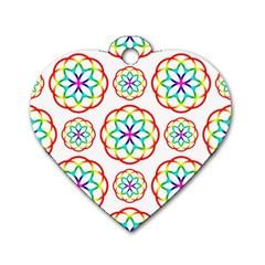 Geometric Circles Seamless Rainbow Colors Geometric Circles Seamless Pattern On White Background Dog Tag Heart (One Side)