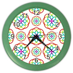 Geometric Circles Seamless Rainbow Colors Geometric Circles Seamless Pattern On White Background Color Wall Clocks