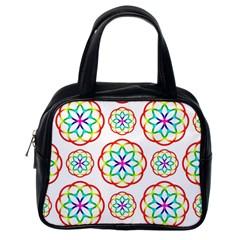 Geometric Circles Seamless Rainbow Colors Geometric Circles Seamless Pattern On White Background Classic Handbags (One Side)