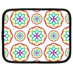 Geometric Circles Seamless Rainbow Colors Geometric Circles Seamless Pattern On White Background Netbook Case (XXL)