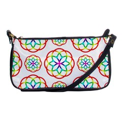 Geometric Circles Seamless Rainbow Colors Geometric Circles Seamless Pattern On White Background Shoulder Clutch Bags by Simbadda
