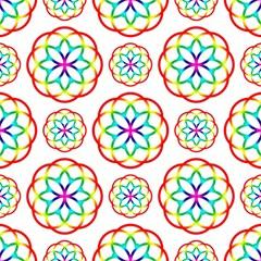 Geometric Circles Seamless Rainbow Colors Geometric Circles Seamless Pattern On White Background Magic Photo Cubes