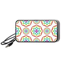 Geometric Circles Seamless Rainbow Colors Geometric Circles Seamless Pattern On White Background Portable Speaker (Black)