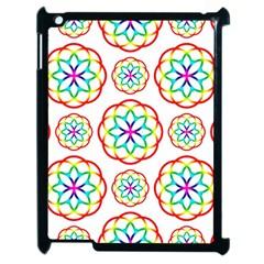 Geometric Circles Seamless Rainbow Colors Geometric Circles Seamless Pattern On White Background Apple iPad 2 Case (Black)