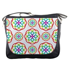 Geometric Circles Seamless Rainbow Colors Geometric Circles Seamless Pattern On White Background Messenger Bags by Simbadda