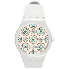 Geometric Circles Seamless Rainbow Colors Geometric Circles Seamless Pattern On White Background Round Plastic Sport Watch (m) by Simbadda