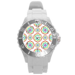Geometric Circles Seamless Rainbow Colors Geometric Circles Seamless Pattern On White Background Round Plastic Sport Watch (l) by Simbadda
