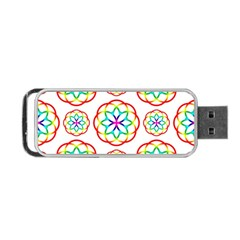 Geometric Circles Seamless Rainbow Colors Geometric Circles Seamless Pattern On White Background Portable Usb Flash (one Side) by Simbadda