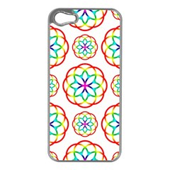 Geometric Circles Seamless Rainbow Colors Geometric Circles Seamless Pattern On White Background Apple iPhone 5 Case (Silver)