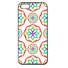 Geometric Circles Seamless Rainbow Colors Geometric Circles Seamless Pattern On White Background Apple Iphone 5 Seamless Case (black) by Simbadda