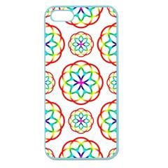 Geometric Circles Seamless Rainbow Colors Geometric Circles Seamless Pattern On White Background Apple Seamless iPhone 5 Case (Color)