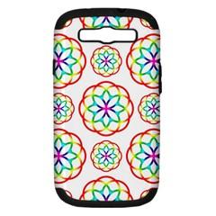 Geometric Circles Seamless Rainbow Colors Geometric Circles Seamless Pattern On White Background Samsung Galaxy S Iii Hardshell Case (pc+silicone) by Simbadda