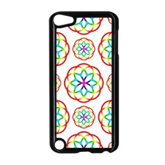Geometric Circles Seamless Rainbow Colors Geometric Circles Seamless Pattern On White Background Apple Ipod Touch 5 Case (black) by Simbadda