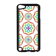 Geometric Circles Seamless Rainbow Colors Geometric Circles Seamless Pattern On White Background Apple iPod Touch 5 Case (Black)