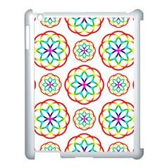Geometric Circles Seamless Rainbow Colors Geometric Circles Seamless Pattern On White Background Apple iPad 3/4 Case (White)