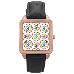 Geometric Circles Seamless Rainbow Colors Geometric Circles Seamless Pattern On White Background Rose Gold Leather Watch