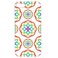 Geometric Circles Seamless Rainbow Colors Geometric Circles Seamless Pattern On White Background Apple iPhone 5 Hardshell Case with Stand