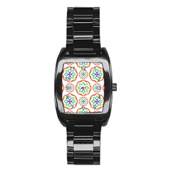 Geometric Circles Seamless Rainbow Colors Geometric Circles Seamless Pattern On White Background Stainless Steel Barrel Watch by Simbadda
