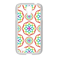 Geometric Circles Seamless Rainbow Colors Geometric Circles Seamless Pattern On White Background Samsung Galaxy S4 I9500/ I9505 Case (white)