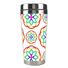 Geometric Circles Seamless Rainbow Colors Geometric Circles Seamless Pattern On White Background Stainless Steel Travel Tumblers by Simbadda