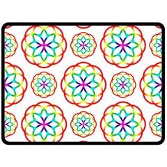 Geometric Circles Seamless Rainbow Colors Geometric Circles Seamless Pattern On White Background Double Sided Fleece Blanket (Large)