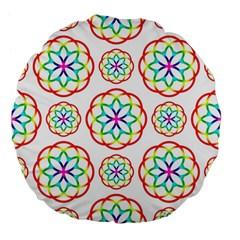 Geometric Circles Seamless Rainbow Colors Geometric Circles Seamless Pattern On White Background Large 18  Premium Flano Round Cushions