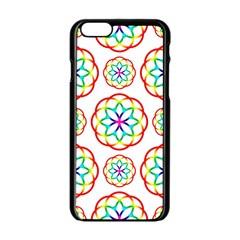 Geometric Circles Seamless Rainbow Colors Geometric Circles Seamless Pattern On White Background Apple iPhone 6/6S Black Enamel Case