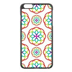 Geometric Circles Seamless Rainbow Colors Geometric Circles Seamless Pattern On White Background Apple Iphone 6 Plus/6s Plus Black Enamel Case by Simbadda
