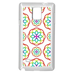 Geometric Circles Seamless Rainbow Colors Geometric Circles Seamless Pattern On White Background Samsung Galaxy Note 4 Case (white) by Simbadda