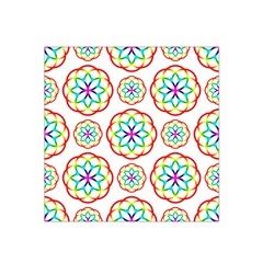 Geometric Circles Seamless Rainbow Colors Geometric Circles Seamless Pattern On White Background Satin Bandana Scarf
